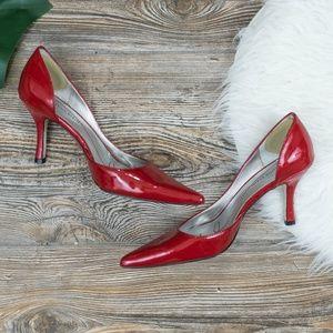 Anne Klein shiny red kitten pumps